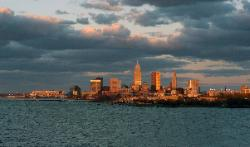 Cleveland Ohio skyline at sunset with Lake Erie