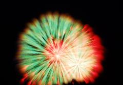 Psychedelic Dandelion #2 - multi-colored abstract fireworks