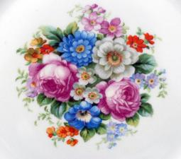 Photograph of beautiful antique China plate floral pattern