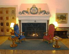 Interior lobby photo of the fireplace setting at the Alcazar Hotel in Cleveland Heights, Ohio