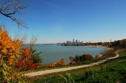 photograph of downtown Cleveland during autumn from Edgewater Park