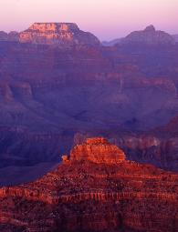 Grand Canyon, Arizona, red colored rocks at sunset