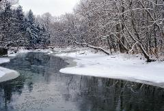 Winter snow scene featuring the Rocky River in Ohio
