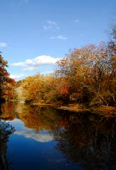Beautiful fall photograph of the Chagrin River near Chagrin Falls, Ohio