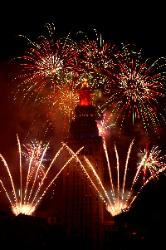 Fireworks on Terminal Tower during Cleveland Orchestra performance Cleveland Ohio]