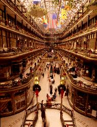 Photograph of The Old Arcade Cleveland, Ohio before it's restoration during Christmas