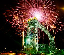 Conrail Lift Bridge lighted and fireworks during Cleveland Ohio bicentennial