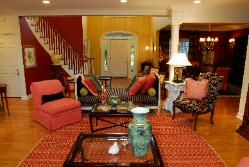 Living room and foyer of home designed and decorated by Linda Wietzke of Bay Village, Ohio